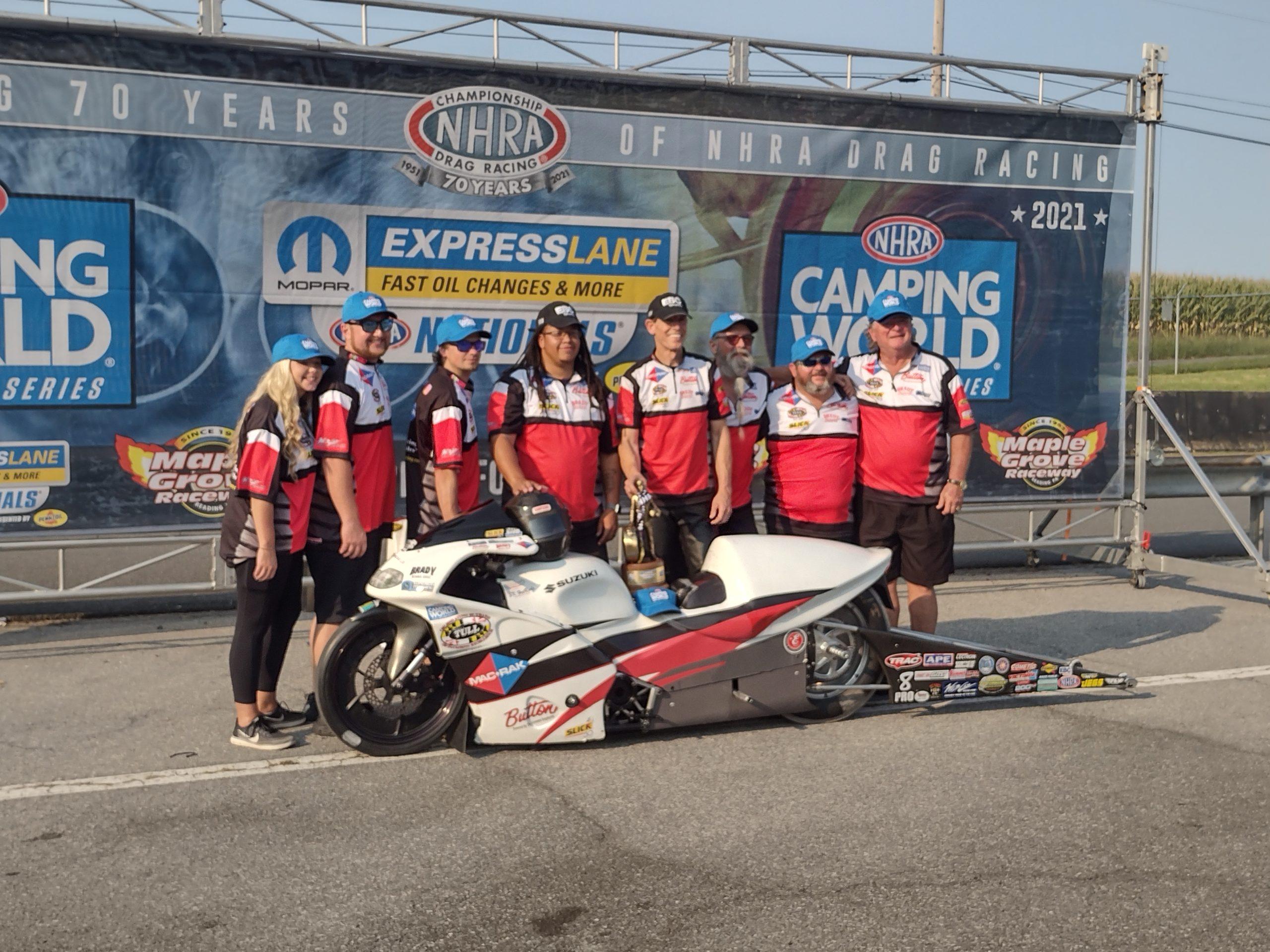 Steve Johnson Wins Pro Stock Motorcycle Drag Race in NHRA Nationals